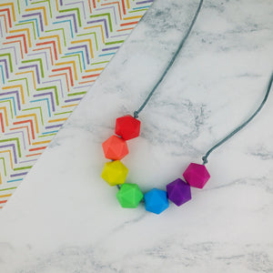 Geo Brights: Radiant Rainbows Teething Necklace - Pebbles and Lace