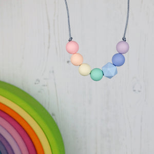 Quirky Little Pastel: Radiant Rainbows Teething Necklace - Pebbles and Lace