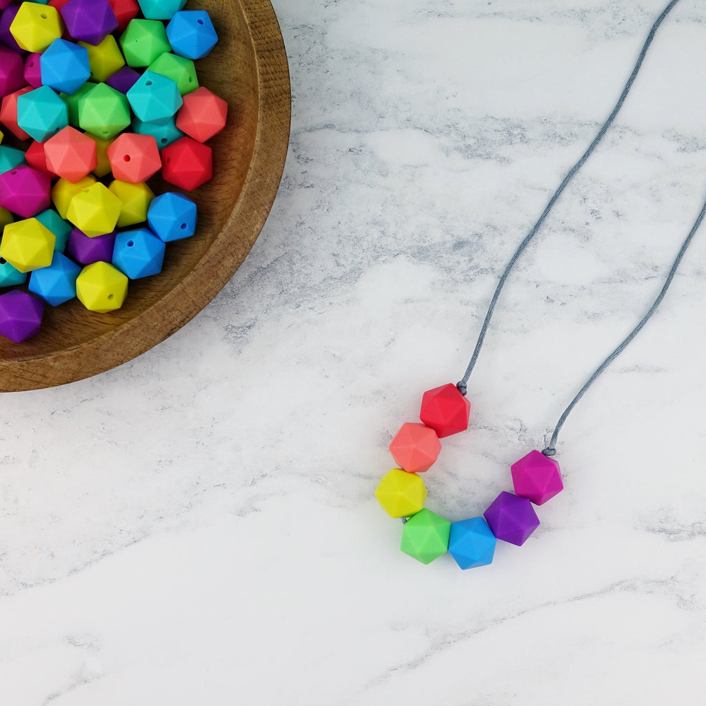 Geo Brights: Radiant Rainbows Silicone Teething Necklace