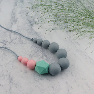 Wren: Sky High Teething Necklace - Pebbles and Lace