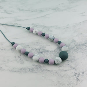 Lavender Clouds: Waves Teething Necklace - Pebbles and Lace