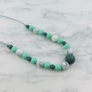 Mint Leaf: Waves Teething Necklace - Pebbles and Lace