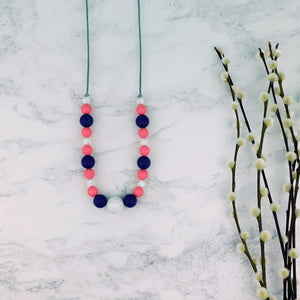 Watermelon Crush: Waves Teething Necklace - Pebbles and Lace
