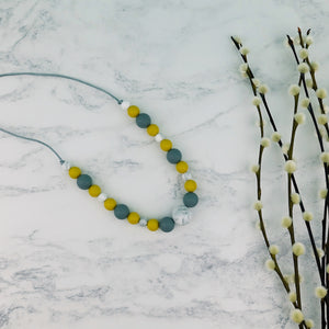 Mustard Storm: Waves Teething Necklace - Pebbles and Lace