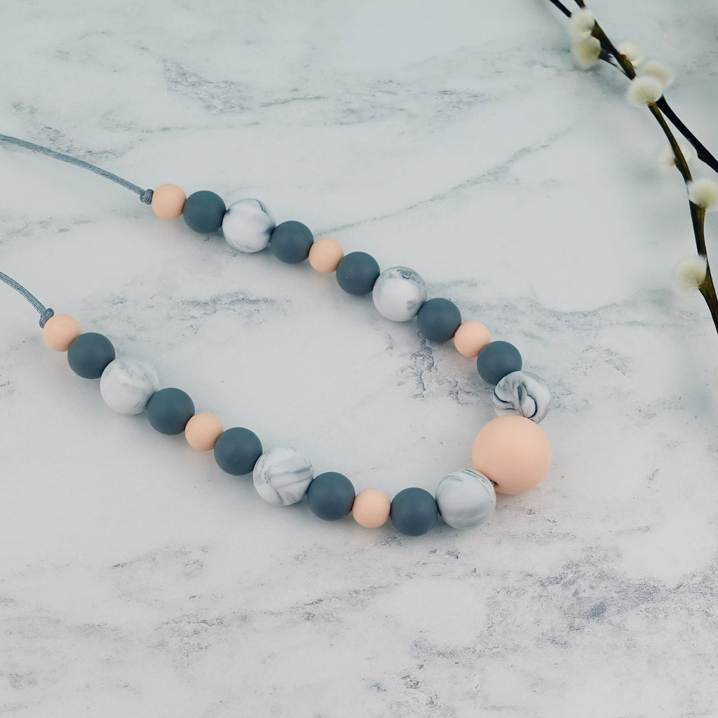 Peach Marble: Waves Teething Necklace