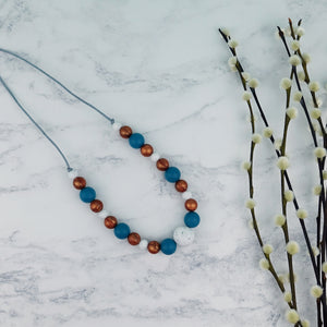 Copper Ocean: Waves Teething Necklace - Pebbles and Lace