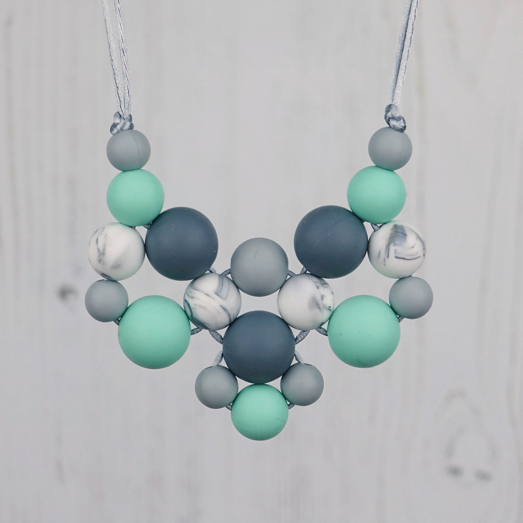 Mint Snowflake: Woven Teething Necklace