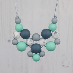 Mint Snowflake: Woven Teething Necklace - Pebbles and Lace