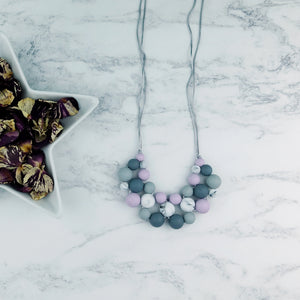 Lucky Lavender: Woven Teething Necklace - Pebbles and Lace