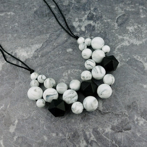 Marble Marvel: Woven Teething Necklace - Pebbles and Lace
