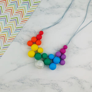 Harmony: Woven Teething Necklace - Pebbles and Lace