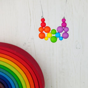 Rainbow Bright: Woven Joy Wonders Teething Necklace - Pebbles and Lace