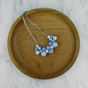 Snowy Morning: Woven Teething Necklace - Pebbles and Lace
