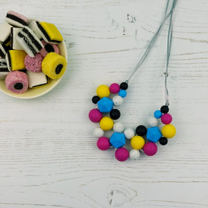 Liquorice Allsorts: Woven Teething Necklace - Pebbles and Lace