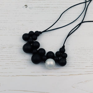 Pearly Midnight: Woven Teething Necklace - Pebbles and Lace