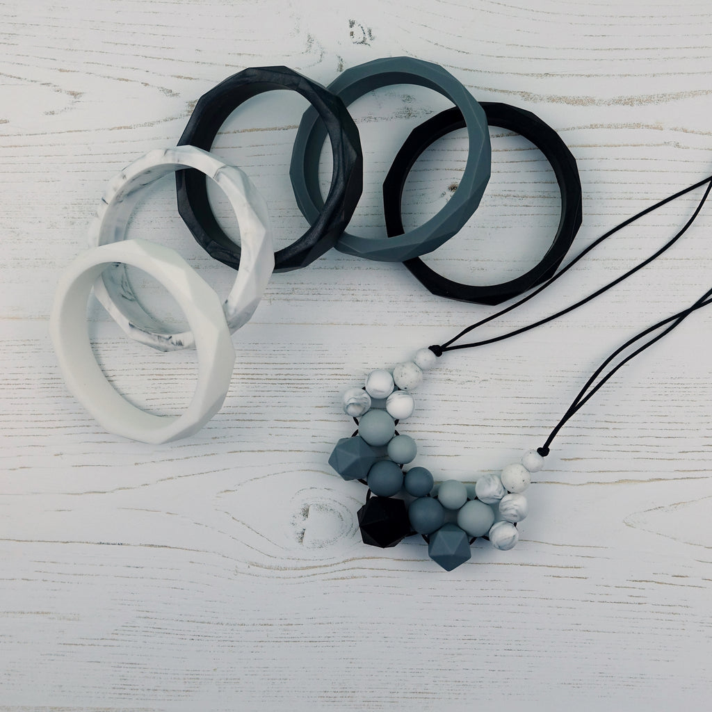 Black Diamond: Woven Silicone Teething Necklace