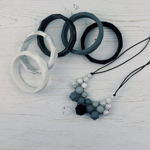 Black Diamond: Woven Teething Necklace - Pebbles and Lace