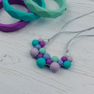 Lilac Lakes: Woven Teething Necklace - Pebbles and Lace