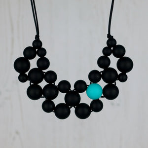 Midnight Colour Pop: Woven Teething Necklace - Pebbles and Lace