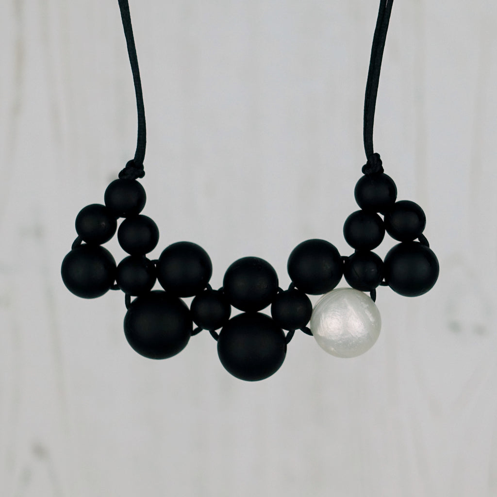 Pearly Midnight: Woven Teething Necklace