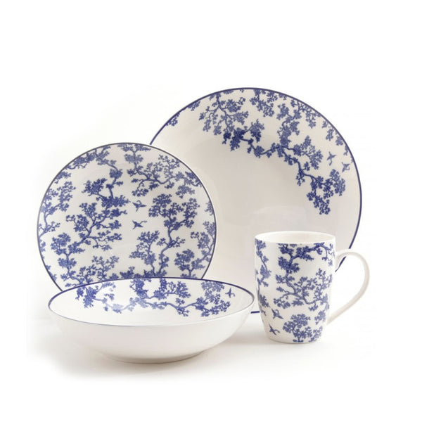 Florence Broadhurst The Cranes 4 Piece Place Setting, Blue - Mmetr
