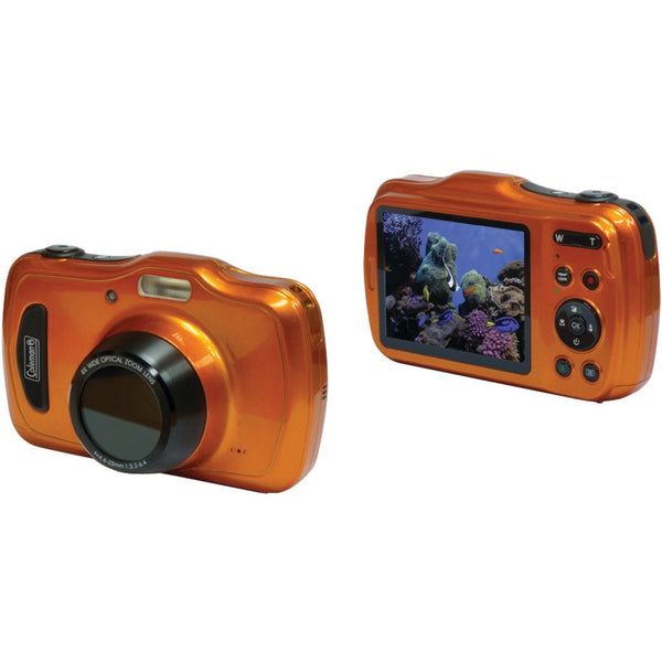 COLEMAN C30WPZ-O 20.0-Megapixel Xtreme4 HD Video Waterproof Digital Camera (Orange) - Mmetr