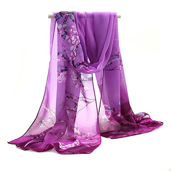 Fashion Autumn Women Chiffon Floral Printed Designer Scarf - Mmetr