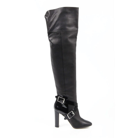 Jimmy Choo Womens High Boot DOMA GR.CALF+SHINY L BLACK