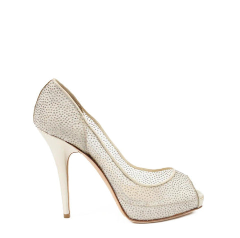 Jimmy Choo decollete open toe 010COMET Glitter Mesh