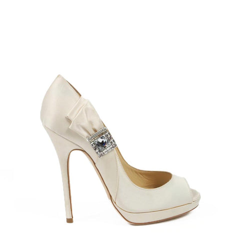 Jimmy Choo decollete open toe GRANT Satin Ivory