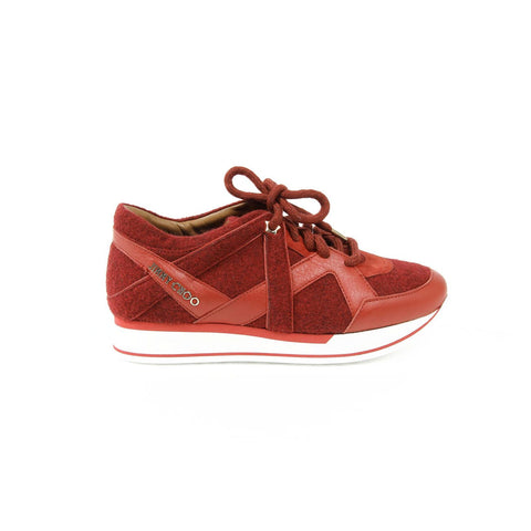 Jimmy Choo Womens Sneaker LONDON FELT/NAPPA RED