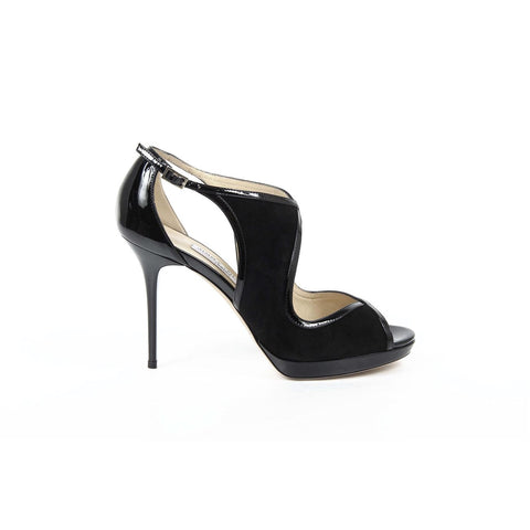 Jimmy Choo Womens Pump LEONDRA SUEDE/PATENT BLACK