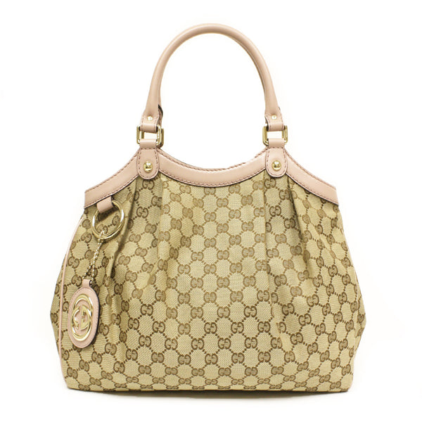 Gucci Medium Sukey Pink Leather and Canvas Satchel Tote Bag - Mmetr