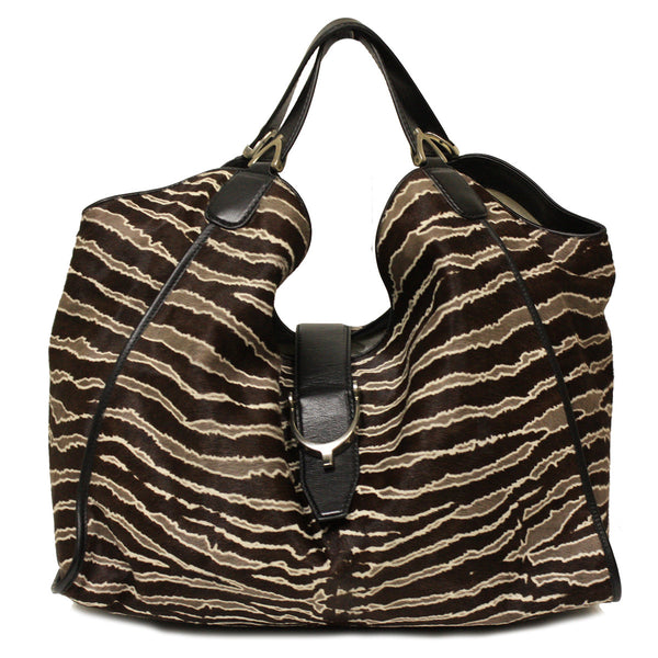 Gucci Soft Stirrup Zebra Ponyhair Leather Hobo Shoulder Bag - Mmetr