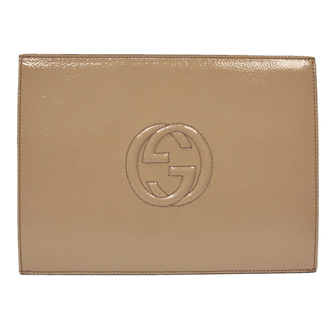 Gucci Soho Mauve Pink Patent Leather Envelope Clutch