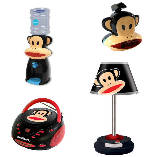 Paul Frank Table Lamp, CD Boombox, Projection Clock Radio and Water Dispenser Bundle - Mmetr