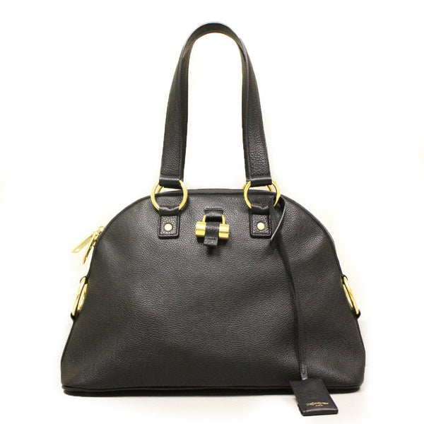 Yves Saint Laurent Muse Black Leather Satchel Handbag - Mmetr