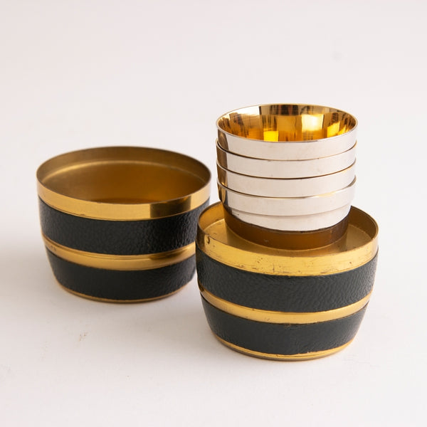 Vintage Stacking Stirrup Cups in Leather & Brass Barrel