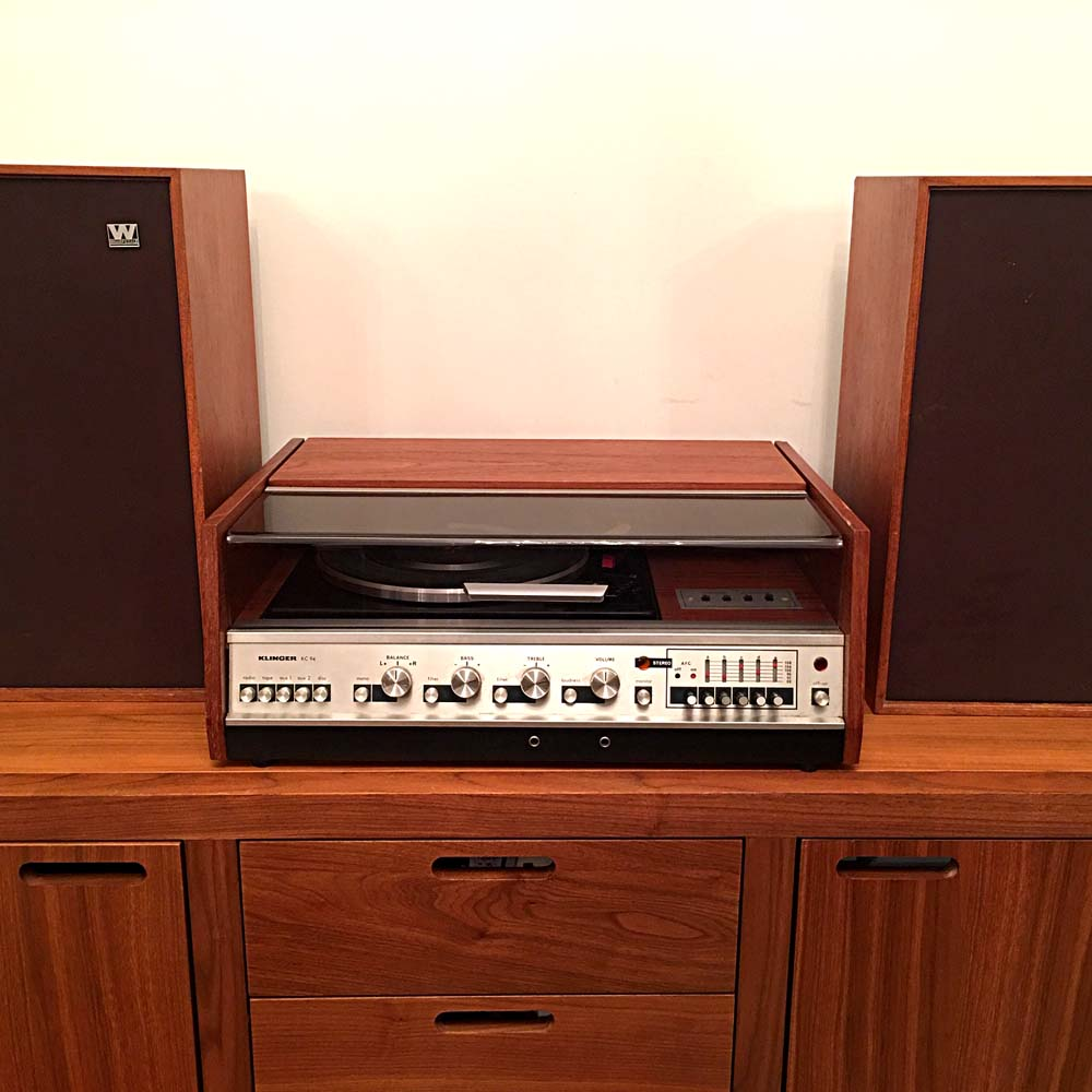 1970s Teak Klinger Music Center with Garrard Record Deck with Wharfedale Speakers
