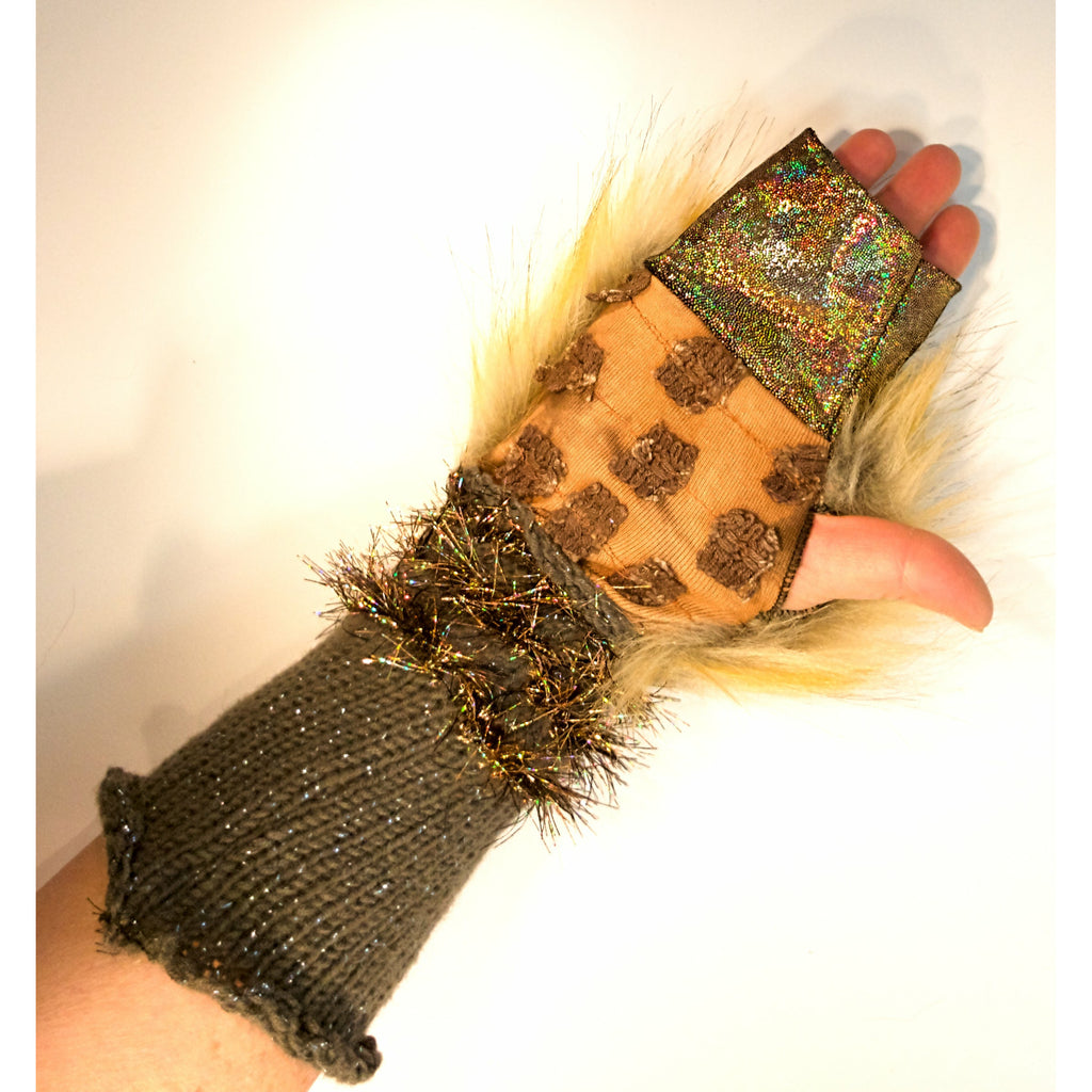 Vegan Lioness Fake Fur n Knit Fingerless Festival Rave Dance Fingers Free Arm Warmer Gloves - RelovedFabrics,Gloves - accessories, [product-vendor] - Robin, [shop-name] - robin.boutique