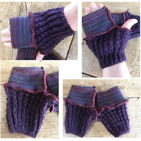Purple VEGAN recycled sweater fingerless gloves, fingers free gloves, fingers out gloves, texting gloves, arthritis gloves, mitts, indoor gloves
