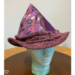 Purple felt embellished renaissance hat
