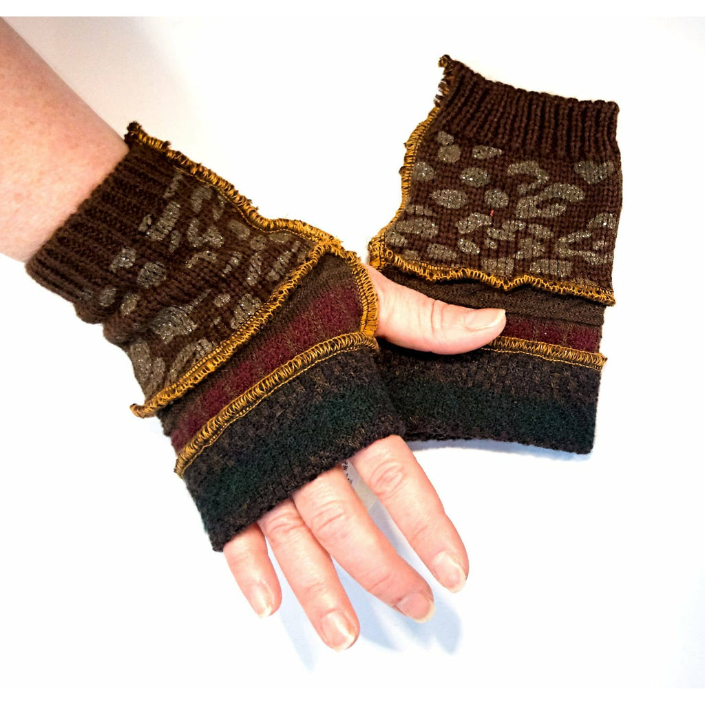 Recycled sweater fingerless gloves reversible. Great for fun, school, texting, cashiers, elderly, arthritis, wrist warmer,fingers free