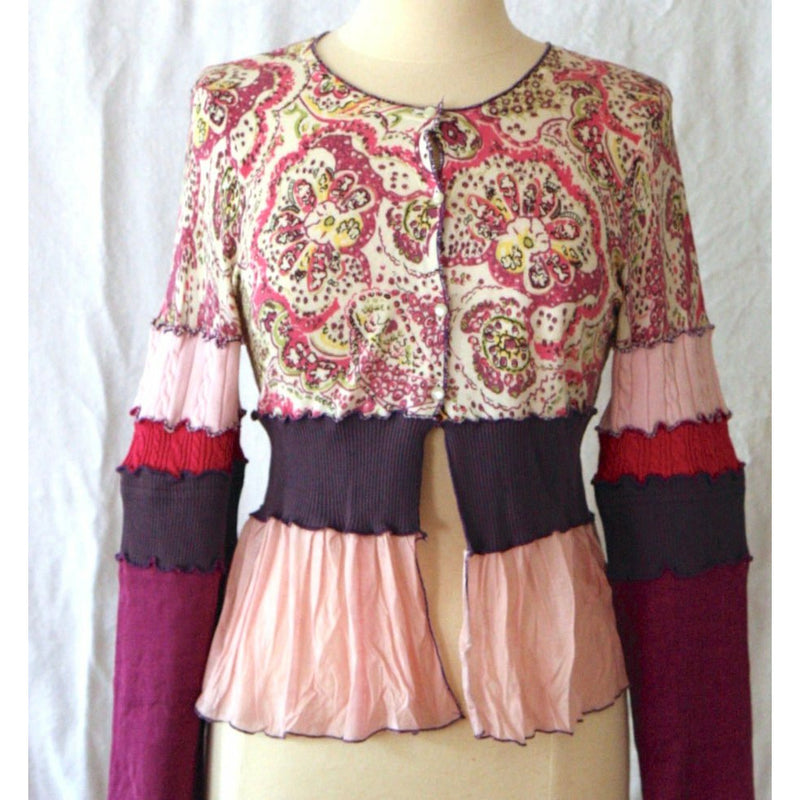 Vegan Cotton Upcycled Repurposed Recyled Knit Cardigan Short Top. Size M/L Pink, Purple snd Multi Color