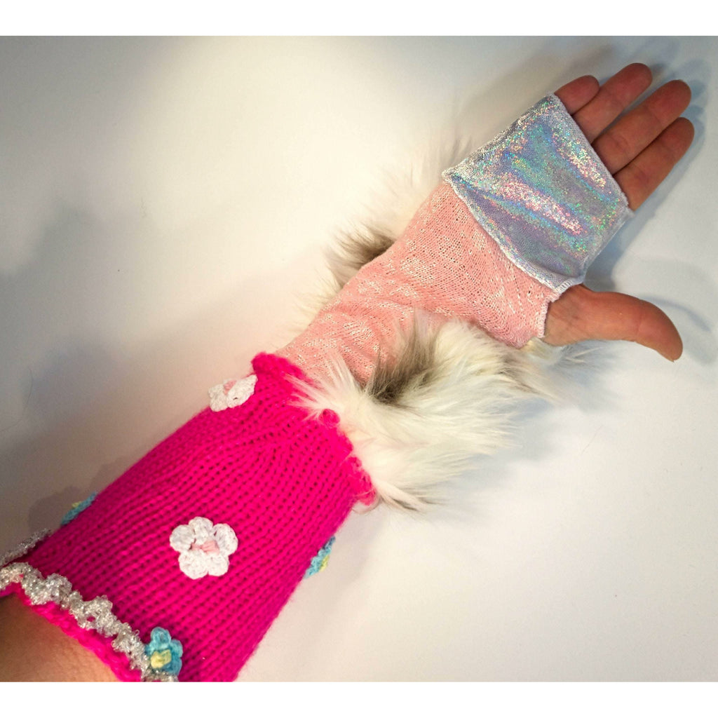 Vegan cotton fake fur hand-knit finger free less gloves mitts. Texting gloves, arm warmers, festival gloves, rave or dance arm warmers