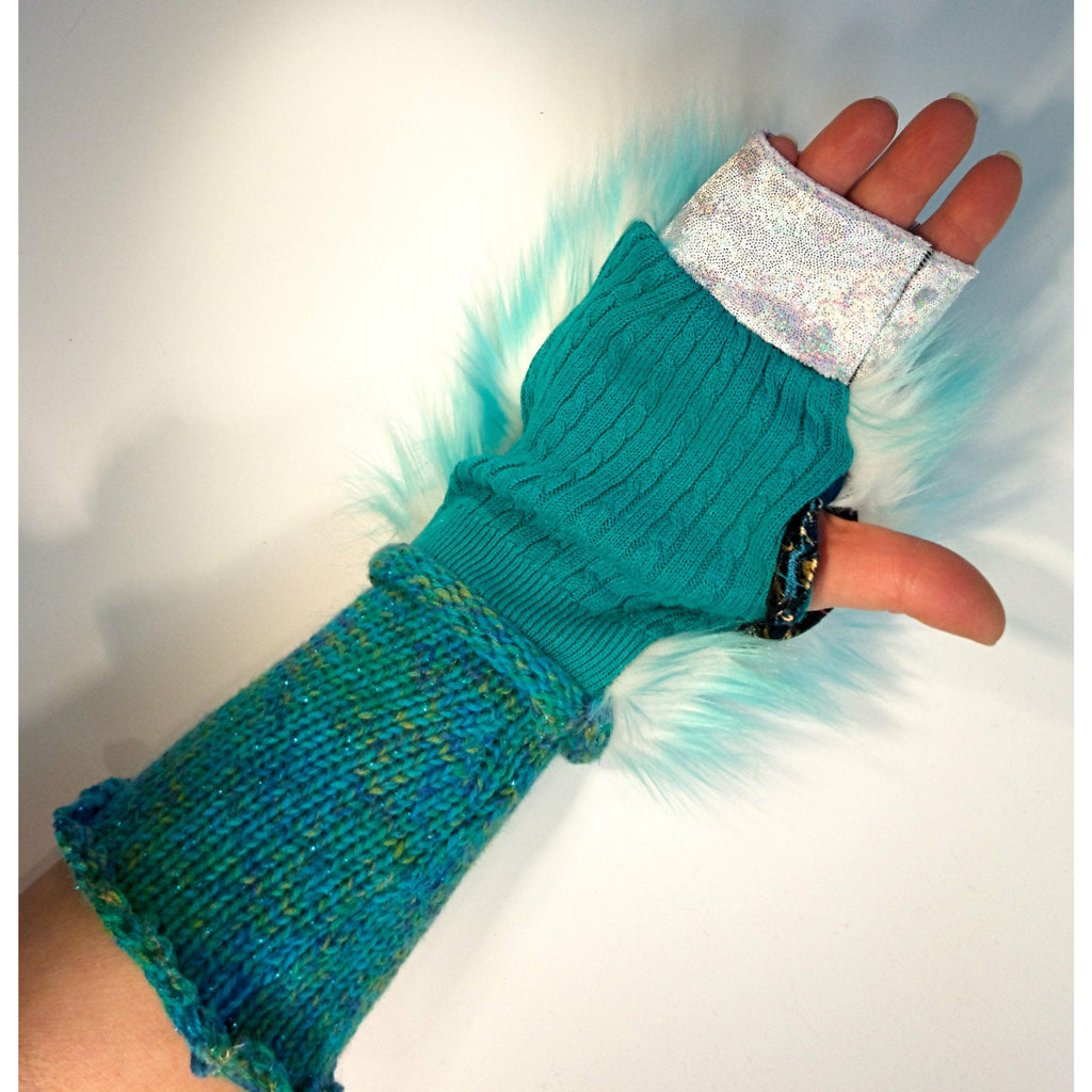 Vegan upcycled repurposed fake fur hand-knit finger free less gloves mitts. Texting gloves, festival gloves, rave or dance arm warmers