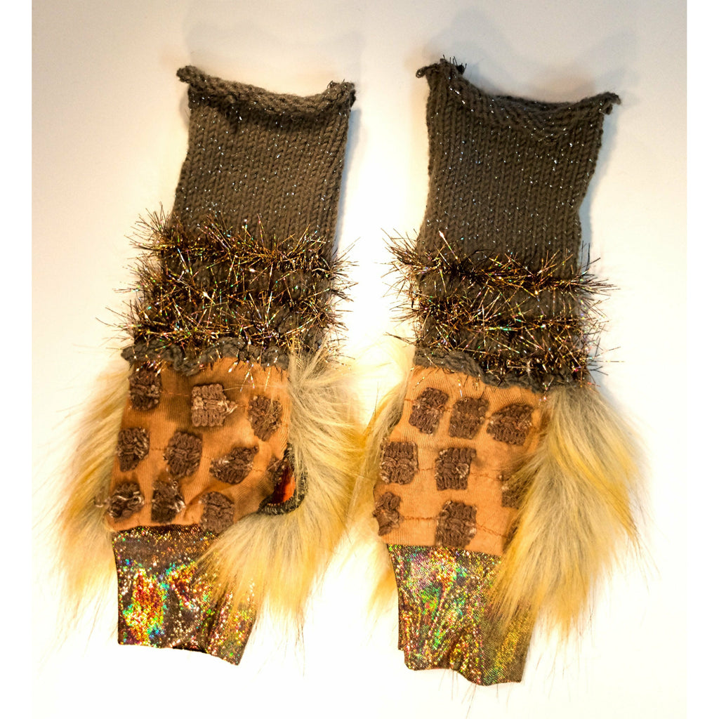 Vegan upcycled recycled fake fur hand-knit sparkle finger free less gloves mitts. Texting gloves, festival gloves, rave or dance arm warmers