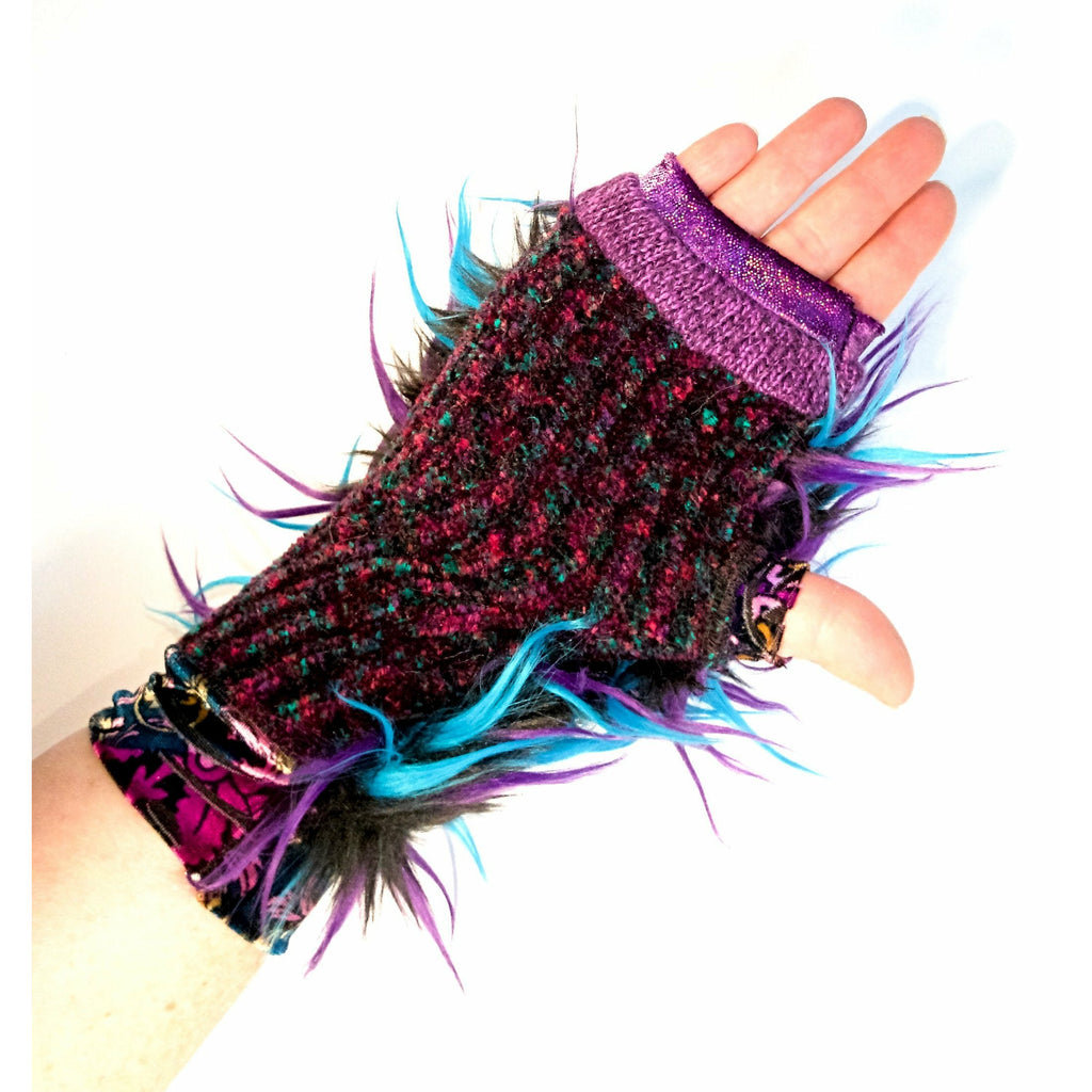 Upcycled repurposed spike fake fur hand-knit finger free less gloves mitts. Texting gloves, festival gloves, rave or dance arm warmers