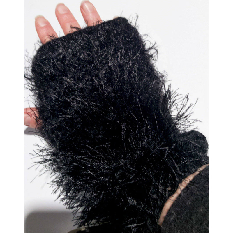 Hand knit text-ure fingerless gloves loaded with textures in black