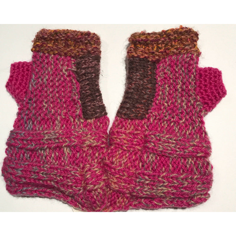 Hand knit text-ure fingerless gloves loaded with textures and colors.